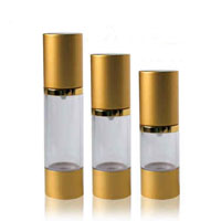 Metalic Gold Cap Airless Bottles